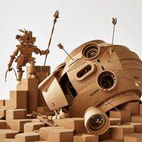 Greg Olijnyk的新清晰纸板雕塑填充了微型世界的幻想和科幻小说