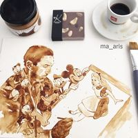 用咖啡创作的不可思议的画作