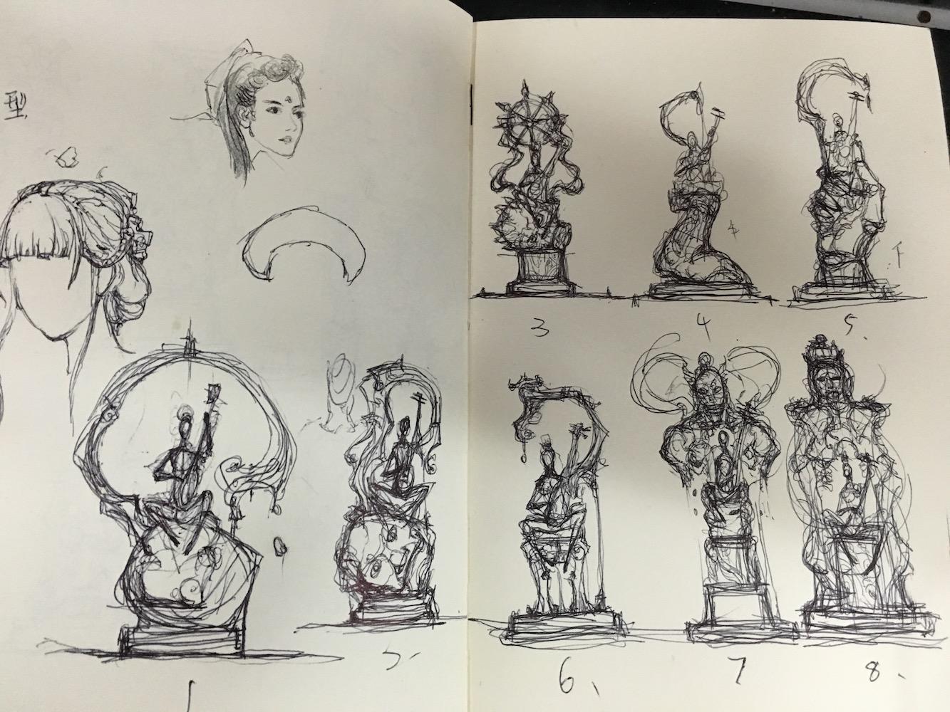 在塑造持国天过程中,冯阳昆画了大量草图,以完善角色的形象