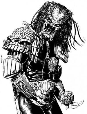 2014年时Brian Bolland绘制的2000AD系列predator vs judge dredd vs aliens 铁血战士vs特警判官vs异形VOL 1的章节插图...越来越奇妙...