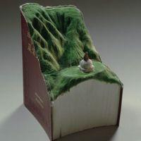 Guy Laramée雕刻图书风景画