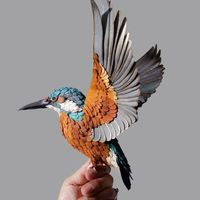 戴安娜·贝尔特兰·埃雷拉的鸟类纸雕作品