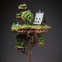 """艺术家Ognyan Stefanov精心制作打造的""""乌托邦式的村庄""""落在一座塔楼之上"""
