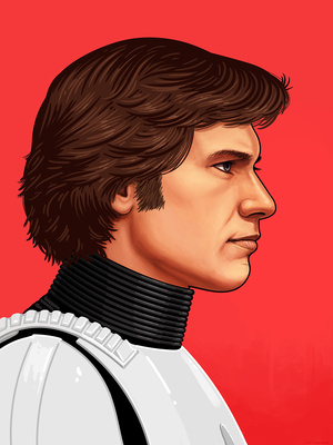 mondo上架两张 Mike Mitchell 绘制的星战名角侧颜海报,这次是Han Solo 和 ...