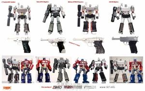 X社、DX9、MT以及MP威震天人形、枪形和与MP10擎天柱对比图。感谢玩友...